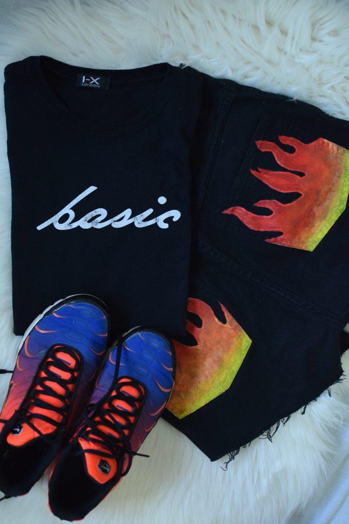 Black 'Basic' Short Sleeve Slogan T-Shirt
