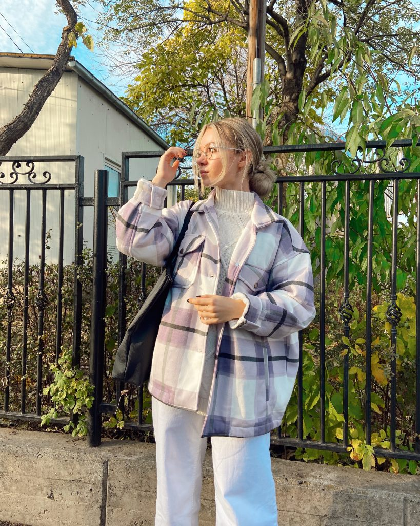 Lilac Check Print Oversized Button Up Pocket Shacket